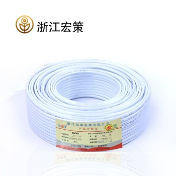 浙江宏策电缆白色BVVB2*2.5平方国标铜芯线100米