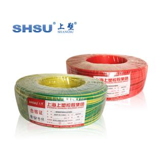 上海上塑电线电缆 黄绿BV6平方国标单股铜芯家用电线 单芯硬线 100米
