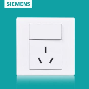 西门子开关插座面板 品宜系列 一开单控带三孔插座 10A