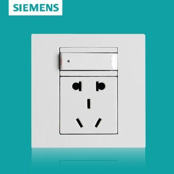 西门子开关插座面板 灵致白系列 一开单控带五孔插座 10A