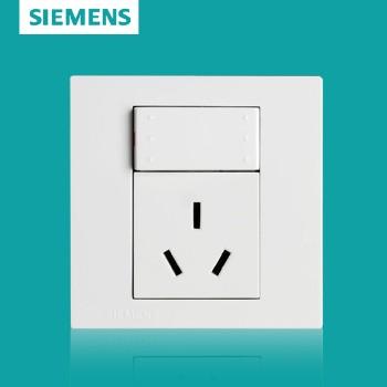 西门子开关插座面板 灵致白系列 一开单控带三孔插座 16A