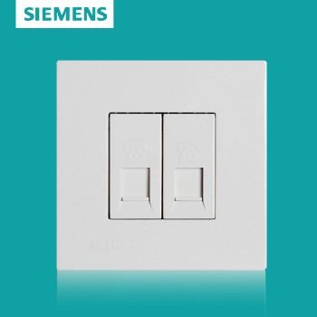 西门子开关插座面板 灵致白系列 双电话插座
