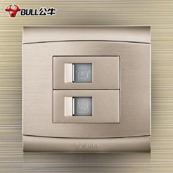 公牛插座 G19系列 电话电脑插座 (香槟金)