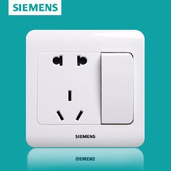 西门子开关插座面板 远景白系列 一开单控带五孔插座 10A
