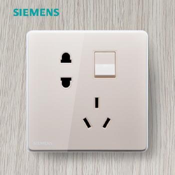 西门子开关插座面板 睿致金系列 一开单控带五孔插座
