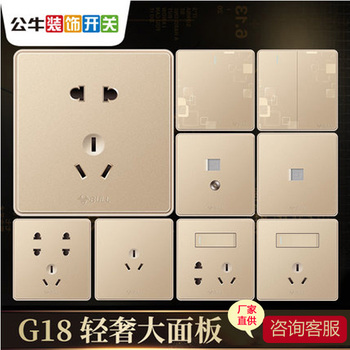 公牛G18幻影纹理玫瑰金 墙壁插座面板