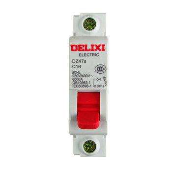 德力西 DZ47s红手柄断路器 DZ47s-1P C型 16A 空气开关 1箱(180件)