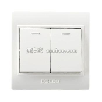 德力西电工 CD130明装开关插座 两联单控开关 二开单控开关