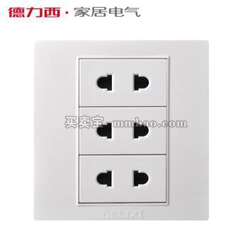 德力西开关插座墙壁面板CD301 86型 3位二插 六孔6孔 三位两孔2孔