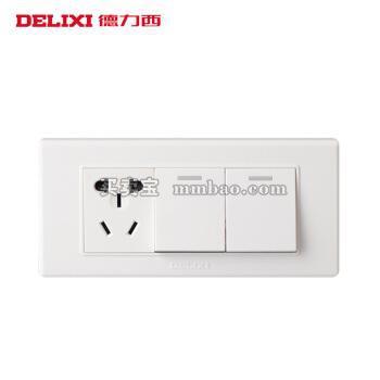 德力西电工 开关插座118型 二开双控加五孔电源 二开一插三孔面板 三位