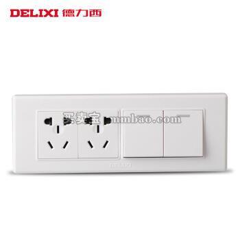 德力西开关插座118型 十孔加二开双控面板 二开二插电源六孔 四位