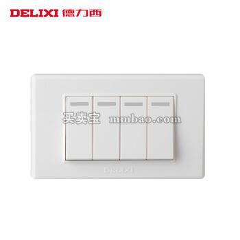 德力西118系列墙壁面板 小四开双控开关 4开四联电源开关二位小号