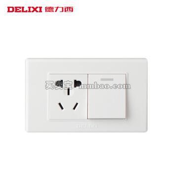 德力西电工 开关插座118型一开单控加五孔插座 一开单一插三孔电源面板