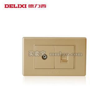 德力西118型开关面板 香槟金有线电视电脑网线墙壁插座 电视网络网线