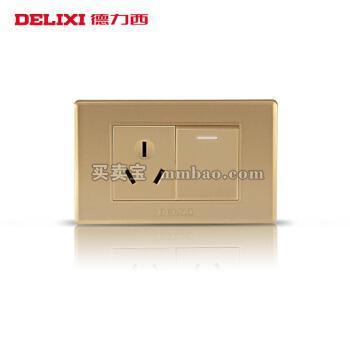 德力西电工 118型开关插座 香槟金面板空调热水器插座 一开单三孔16A插座