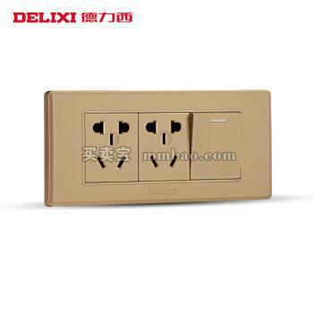德力西电工 118型开关插座 香槟金一开双控十孔面板 单开双二插六孔插