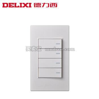 德力西120型开关插座墙壁面板CD301 小号 四开双控 小4开四位开关
