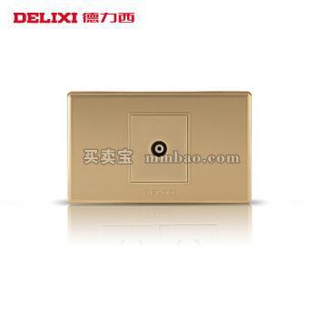 德力西118型墙壁开关 香槟金插座面板 闭路电视插座 有线电视TV插座
