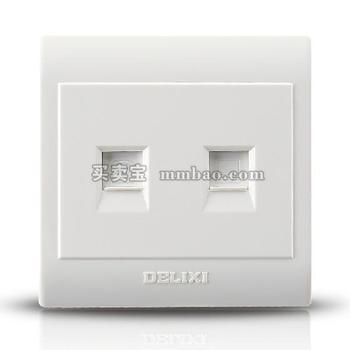 德力西CD130明装开关插座 电话+电脑插座 网络电话插座