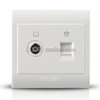 德力西CD130明装开关插座 一位电视+电脑插座 网络电视插座