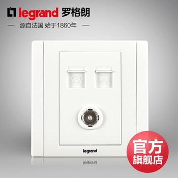 罗格朗开关 插座面板 美涵白色   三位电脑电话电视  信号电源  86型  美涵白色