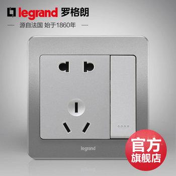 罗格朗开关 插座面板 逸典醇砂钢 二三插五孔带一开单控  墙壁电源 86型