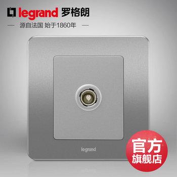 罗格朗开关 插座面板 逸典醇砂钢 一位单电视有线电视 信号电源 86型
