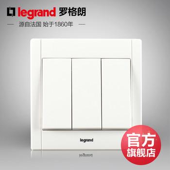 罗格朗开关 插座面板 美涵白色   三开双控  墙壁电源  86型  美涵白色