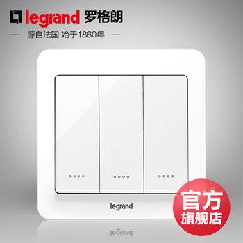罗格朗开关 三开单控开关面板 逸典圆白色带荧光 三位单极 墙壁电源 86型