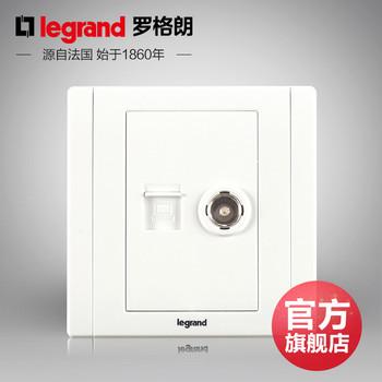 罗格朗开关 插座面板 美涵白色   二位电脑电视  信号电源  86型  美涵白色