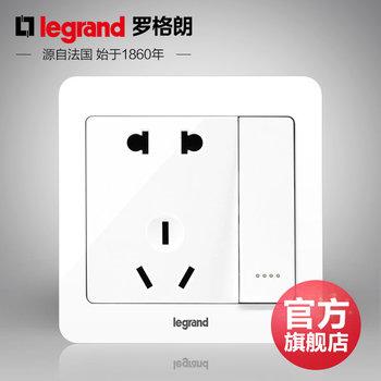 罗格朗开关 插座面板 逸典圆白色 二三插五孔带一开双控 墙壁电源 86型