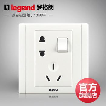 罗格朗开关 插座面板 美涵白色   二三插五孔带一开双控  墙壁电源  86型  美涵白色