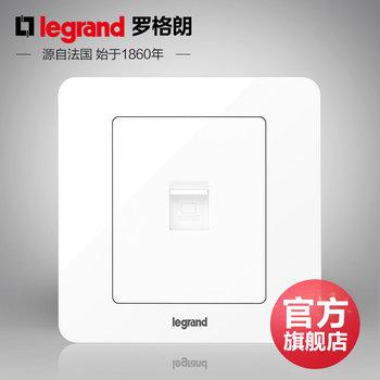 罗格朗开关 插座面板 逸典圆白色 一位单电脑超五类 网线电源 86型