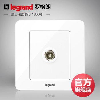 罗格朗开关 插座面板 逸典圆白色 一位单电视有线电视 信号电源 86型