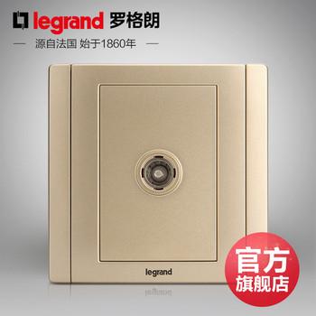 罗格朗开关 插座面板 美涵金色  一位单电视电视有线  信号电源  86型 美涵金色