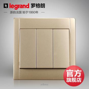 罗格朗开关 插座面板 美涵金色  三开双控  墙壁电源  86型  美涵金色