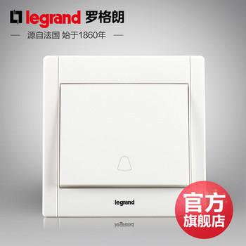 罗格朗开关 插座面板 美涵白色   门铃开关  墙壁电源  86型  美涵白色