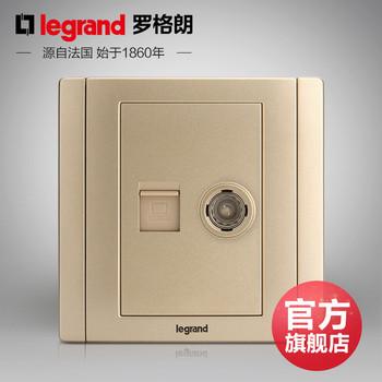 罗格朗开关 插座面板 美涵金色  二位电脑电视网络   信号电源  86型  美涵金色