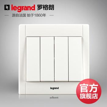 罗格朗开关 插座面板 美涵白色   四开双控  墙壁电源  86型  美涵白色