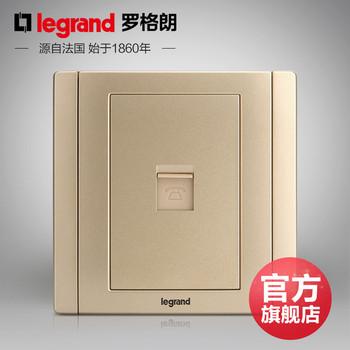 罗格朗开关 插座面板 美涵金色  一位单电话语音  信号电源  86型  美涵金色