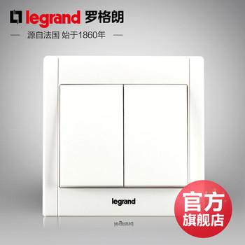 罗格朗开关 插座面板 美涵白色   二开多控中途开关  墙壁电源  86型 美涵白色