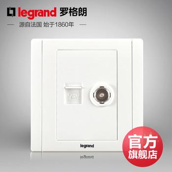 罗格朗开关 插座面板 美涵白色   二位电话电视语音  信号电源  86型 美涵白色