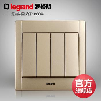 罗格朗开关 插座面板 美涵金色  四开双控  墙壁电源  86型  美涵金色