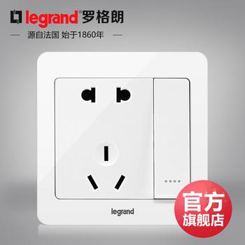 罗格朗开关 插座面板 逸典圆白色 二三插五孔带一开单控 墙壁电源 86型