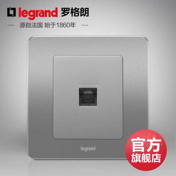 罗格朗开关 插座面板 逸典醇砂钢 一位单电话语音 信号电源 86型