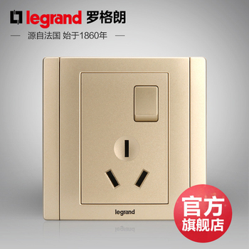 罗格朗开关 插座面板 美涵金色  三孔16A带开关插空调专用  墙壁电源  86型  美涵金色