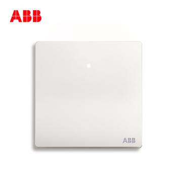 ABB开关插座 轩致无框 雅典白色 一开单控带灯开关面板