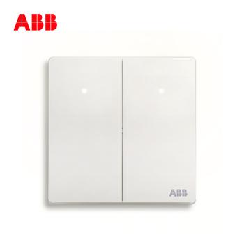 ABB开关插座 轩致无框 雅典白色 二开单控带灯开关面板