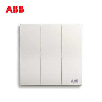 ABB开关插座 轩致无框 雅典白色 三开双控开关面板