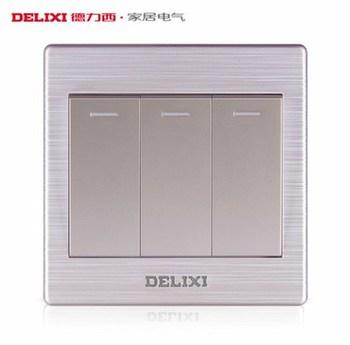 德力西电工 CD860系列 三开单控带荧光开关面板